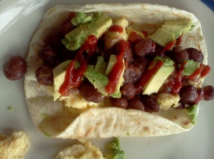 breakfast taco with Great Mother Stallard beans