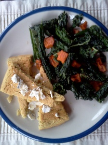 farinata with kale salad