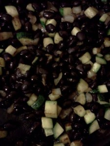 black beans, zucchini and onion
