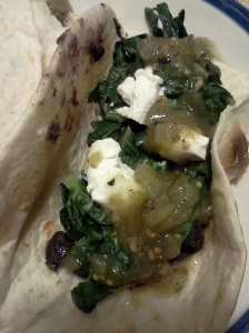 black bean taco w kale, goat cheese, and tomatillo salsa
