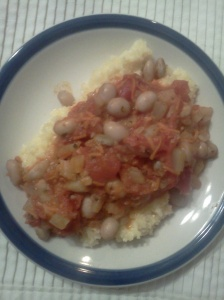 cranberry beans with tomato fennel sauce over parmesan polenta