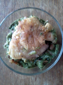 chicken with cranberry beans and kale pesto