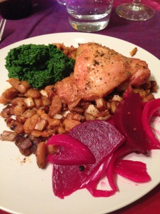 roast chicken with slow cooked cannellini beans, parsnips, kale pesto, and pickled beets and red onions